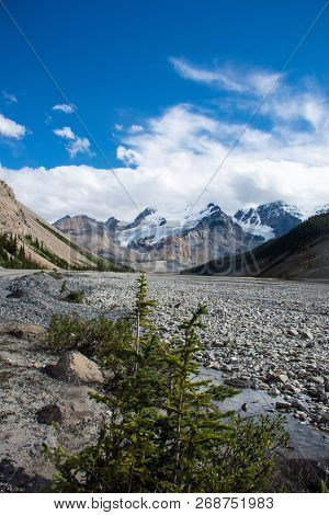Rocky River Tundra Along The Icefields Parkway In The Canadian Rockies, Jasper National Park