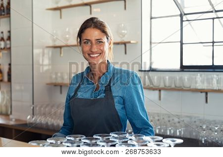 Smiling proud bartender woman standing behind counter and looking at camera. Portrait of beautiful weitress wearing denim shirt with apron. Successful small business owner at pub or coffee shop.