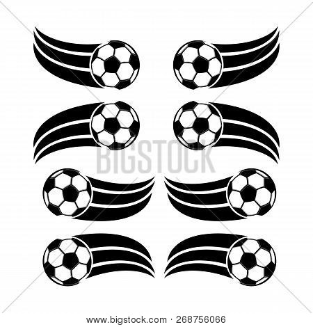 Soccer And Football Balls For Labels And Emblems. Football Emblem, Label Ball Soccer, Sport Football