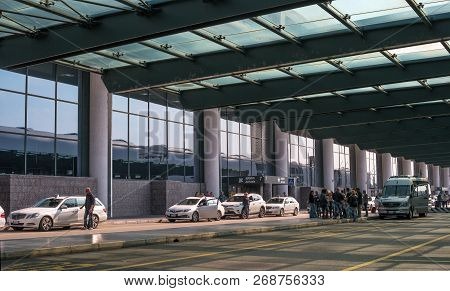 Malpensa Airport, Italy - 18 October 2018: Taxi At Malpensa Airport. Taxi Waiting For Passengers. Wh