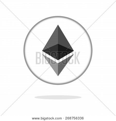Ethereum Crypto Currency Coin Ether Chrystal Art Icon For Apps And Websites. Ethereum Vector Logo Fo