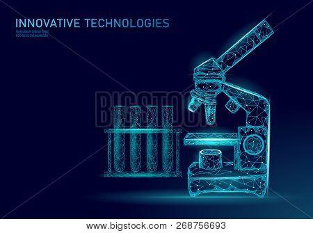 Microscope Bacteria 3d Low Poly Render Probiotics. Laboratory Analysis Microorganism. Healthy Flora