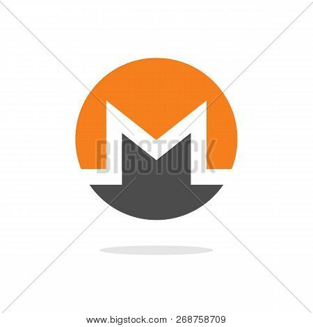 Monero Xmr Open-source Crypto Currency Coin On Blockchain Technology Vector, Icon, Sign For Print An