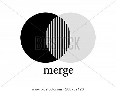 Merge Fusion Icon . Merger Pictogram Vector Circles