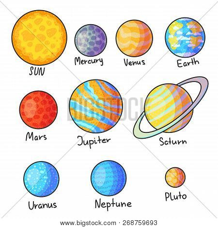 Solar System Planets Hand Drawn Cartoon Vector Illustrations Set. Doodle Space Cliparts. Cartoon Pla