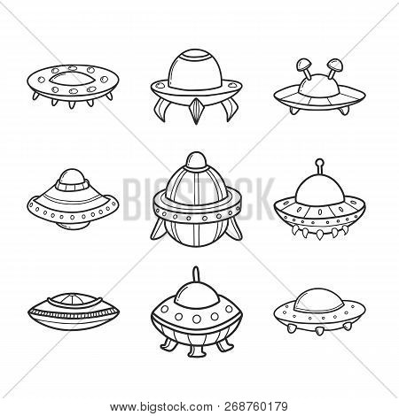Cartoon Flying Saucers Hand Drawn Outline Illustrations Set. Cute Ufo. Space Shuttle Cliparts. Doodl
