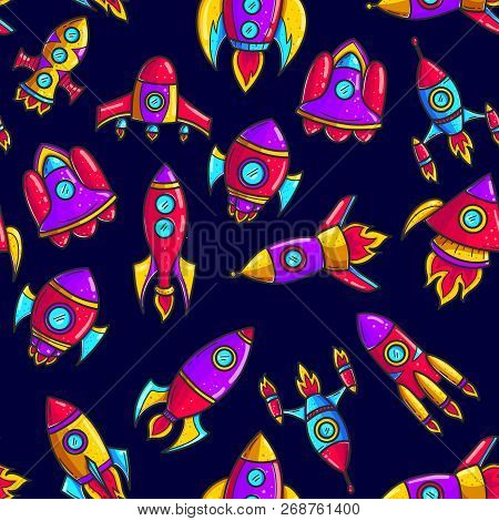 Cartoon Rockets Hand Drawn Color Seamless Pattern. Cute Space Shuttles Cliparts. Doodle Spaceships.