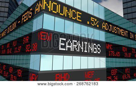 Earnings Stock Market Reporting Company Profits 3d Illustration