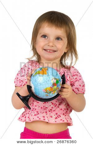 Little girl with terrestrial globe on white background