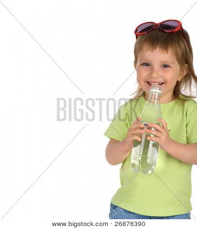 Little girl drink the water from plastic bottle
