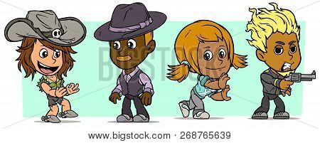 Cartoon Funny Boy And Girl Characters. Vol. 33. Cowgirl, Bad Guy And Detective. Vector Icons Set.