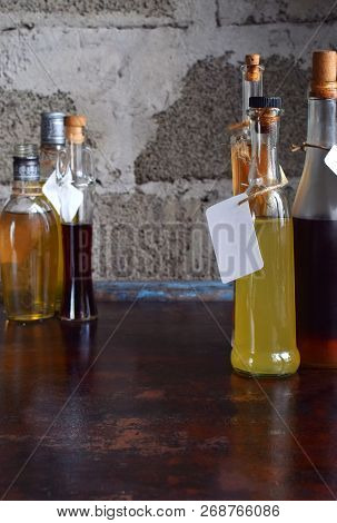 Alcohol Drinks. Set Of Wine, Brandy, Liqueur, Tincture, Cognac, Whiskey In Glass, Bottles. Large Var