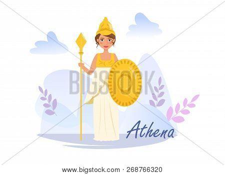 Athena Vector. Cartoon. Isolated Art On White Background. Flat