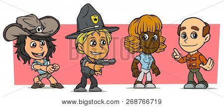 Cartoon Funny Boy And Girl Characters. Vol. 41. Cowgirl, Ranger And Grandfather. Vector Icons Set