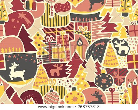 Christmas Seamless Vector Background. Modern Holiday Pattern For Women And Girls In Pink, Yellow, Re