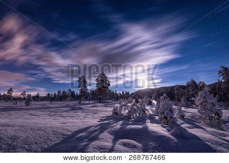 Night Near Geitfjellet In Heia, Northern Norway