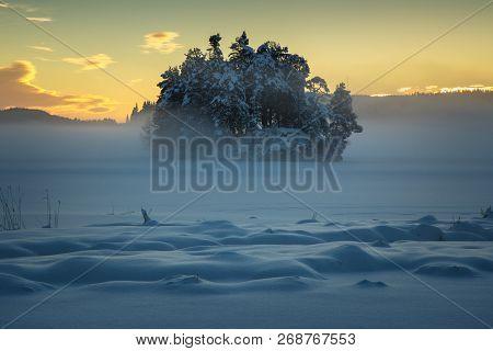 Winter By Frozen Jonsvatnet Lake, Trondheim, Norway
