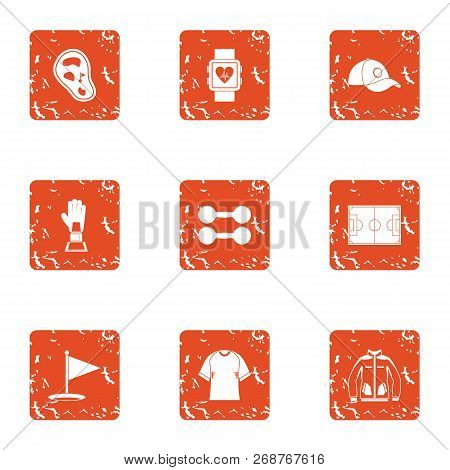 Sport Rise Icons Set. Grunge Set Of 9 Sport Rise Icons For Web Isolated On White Background
