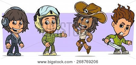 Cartoon Funny Boy And Girl Characters. Vol. 52. Cowgirl, Pilot And Criminal. Vector Icons Set