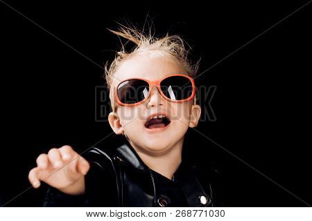 Stay Wild And Free. Little Child Boy In Rocker Jacket And Sunglasses. Little Rock Star. Rock Style C