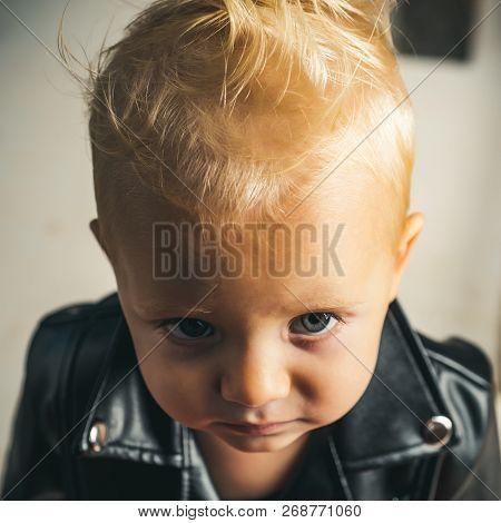 Rock And Roll Fashion Trend. Little Rock Star. Little Child Boy In Rocker Jacket. Rock Style Child.