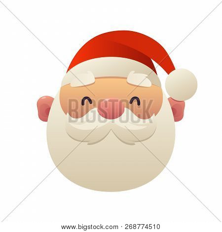 Cute Cartoon Santa Claus Head On White Background Isolated