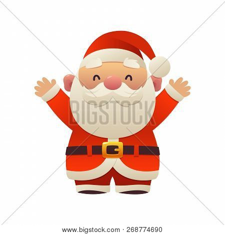 Santa Claus Cartoon Holiday Character With Hands Up Christmas Vector On White Background