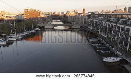 Milwaukee River In Downtown, Harbor Districts Of Milwaukee, Wisconsin, United States. Real Estate, C