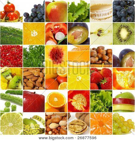 Obst Gemüse Collage. gesunde Ernährung Konzept