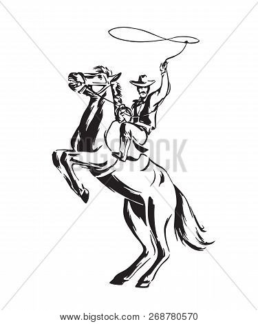 Hand Drawn Cowboy With Lasso On Rearing Horse. Rodeo Vector Illustration. Black Isolated On White Ba