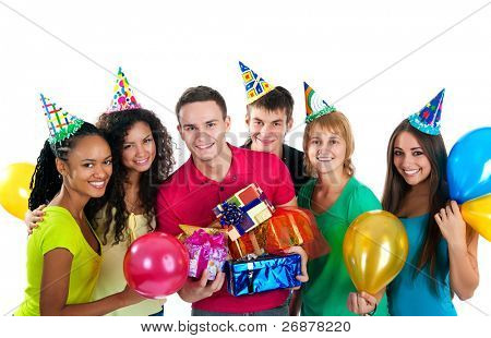 Group of teenagers celebrate birthday. Isolated over white  background