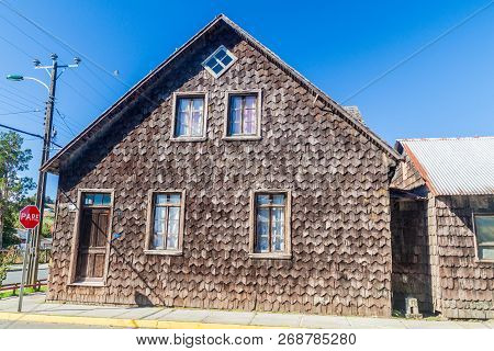 View Of Wooden Houses Lining Streets Of Curaco De Velez Village, Quinchao Island, Chile