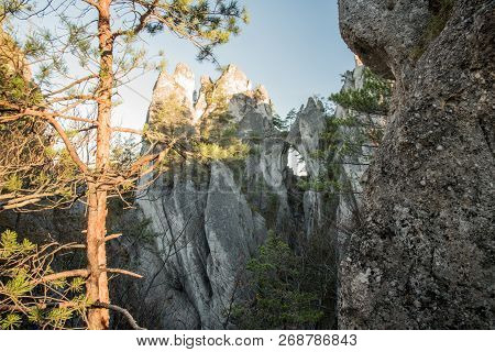 Goticka Brana Natural Arch In Sulovske Skaly Mountains In Slovakia During Autumn Morning With Clear
