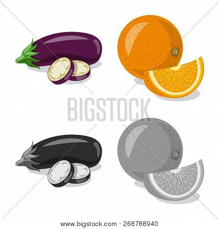 Isolated Object Of Vegetable And Fruit Icon. Set Of Vegetable And Vegetarian Stock Vector Illustrati
