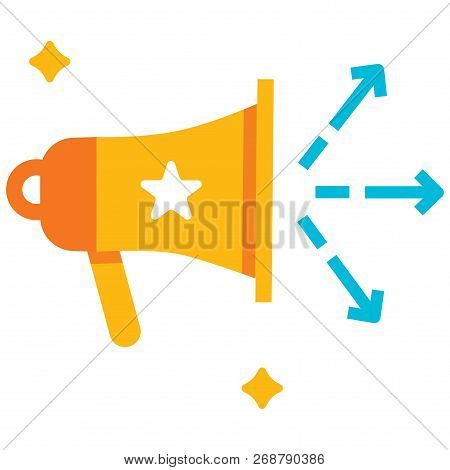 Speakerphone With Arrows Vector Illustration In Flat Color Design