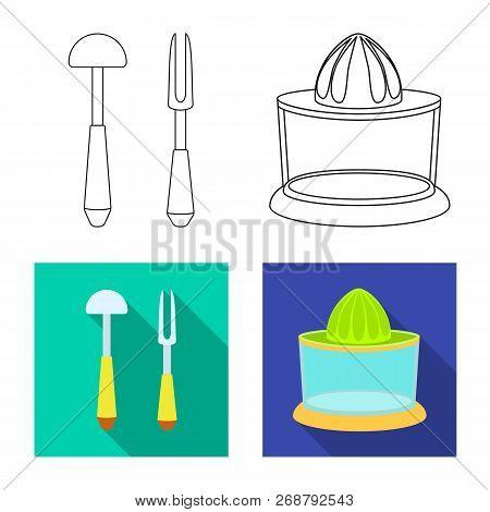 Vector Design Of Kitchen And Cook Sign. Set Of Kitchen And Appliance Stock Vector Illustration.