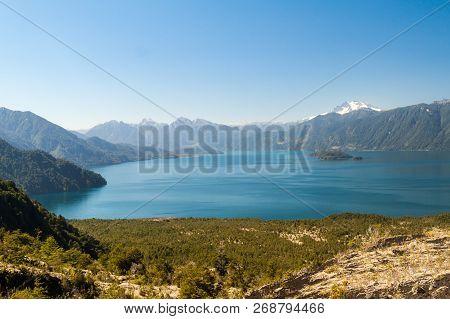 Lago Todos Los Santos Lake Of All The Saints With Monte Tronador Volcano In Background, Chile