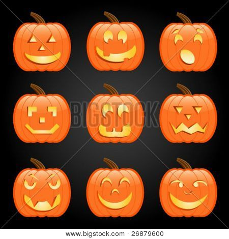 Nine jack-o-lanterns, each with a different expression