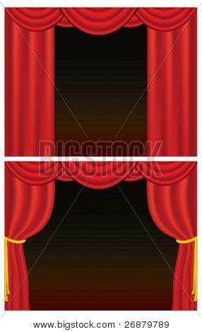 Red velvet theater curtains, one set drawn back with golden rope. Contains gradient mesh.