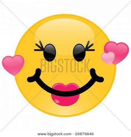 Image version of a girl smiley in love with pink hearts