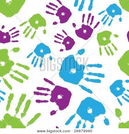 Image of brightly colored handprints arranged in a seamless composition