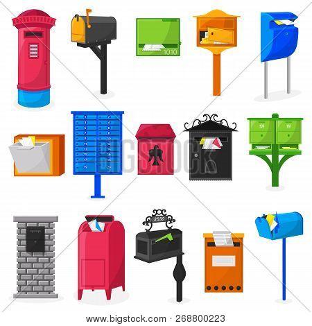 Mail Box Vector Modern Post Mailbox Designe Or Postal Mailing Letterbox Illustration Set Of Postboxe