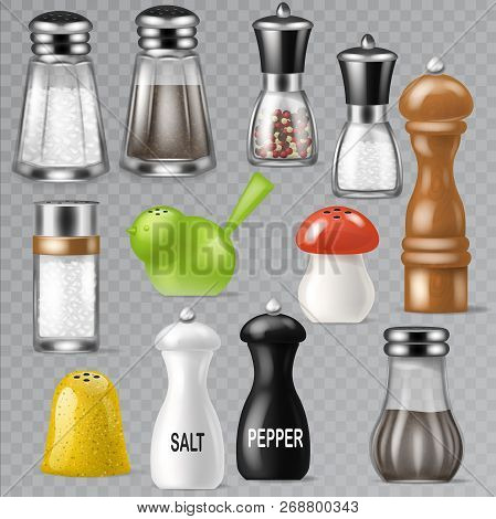 Salt Shaker Vector Design Pepper Bottle Glass Container And Wooden Kitchen Utensil Saltshaker Decor