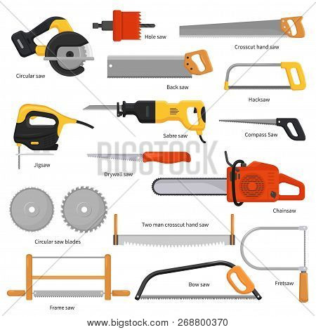 Saw Vector Sawing Equipment Hand-saw Hacksaw Chainsaw And Pullsaw Sawdust Carpentry Metal Tool With