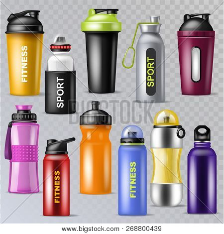 Sport Bottle Vector Sportive Water Bottled Drink Thermo And Fitness Plastic Energy Beverage Illustra
