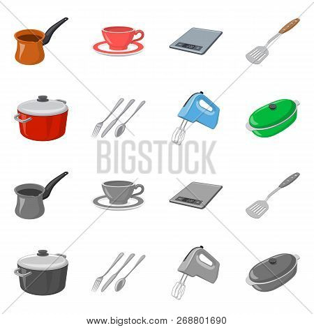 Isolated Object Of Kitchen And Cook Icon. Set Of Kitchen And Appliance Stock Vector Illustration.