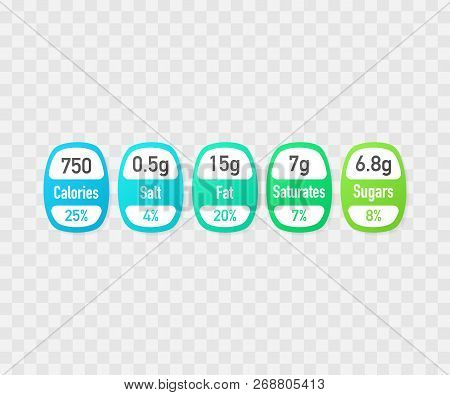 Nutrition Facts Vector Package Labels With Calories And Ingredient Information. Illustration Of Dail