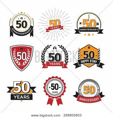 Collection Of Retro 50 Th Years Anniversary Logo. Set Of Isolated Vintage Icons Of Fifty Years Celeb