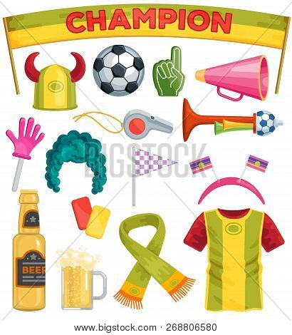 Soccer Fan Set Vector Sportsfan Football Hand Foam Soccerball Beer Illustration Set Of Footballing S