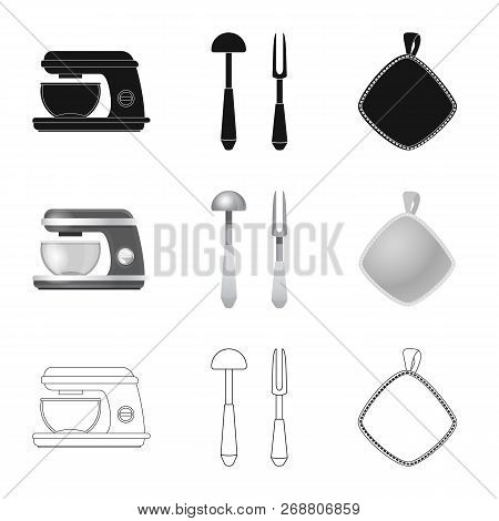 Vector Illustration Of Kitchen And Cook Symbol. Collection Of Kitchen And Appliance Stock Symbol For